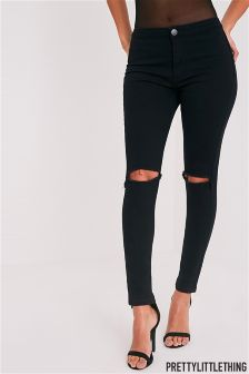 PrettyLittleThing Mid Rise Knee Rip Skinny Jeans