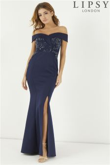 Lipsy Petite Sequin Lace Bardot Maxi Dress