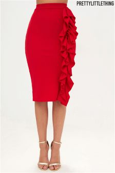 PrettyLittleThing Ruffle Bodycon Midi Skirt