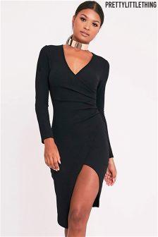 PrettyLittleThing Wrap Front Midi Dress