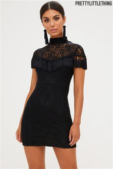 PrettyLittleThing Lace Tassel Detail Bodycon Dress