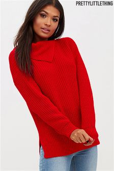 PrettyLittleThing Button Detail Roll Neck Jumper