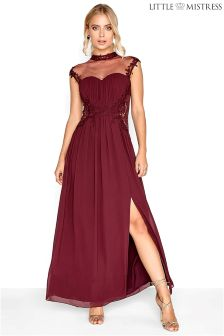 Little Mistress Bridesmaid High Neck Lace Maxi Dress