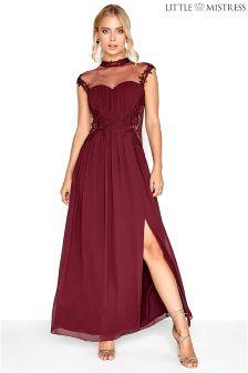 Robe longue Little Mistress Bridesmaid en dentelle à encolure haute
