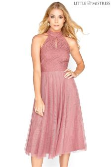 Little Mistress Lace Bodice Halter Neck Skater Bridesmaid Dress