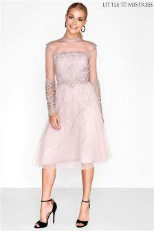 Koronkowa sukienka midi Little Mistress Bridesmaid z długim rękawem
