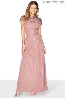 Little Mistress Embellished Statement Cap Sleeve Lace Bodice Maxi Bridesmaid Dress