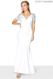 Little Mistress Lace Sleeve Wrap Front Bridal Dress
