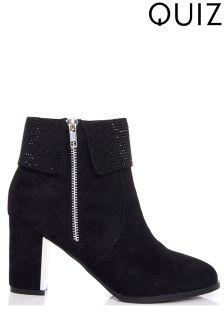 Quiz Stud Collar Zip Heel Ankle Boots