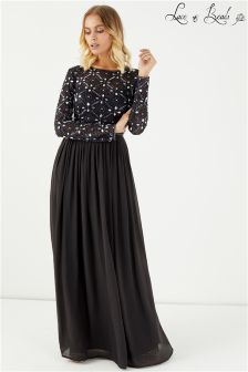Lace And Beads Backless Embellished Maxi Dress