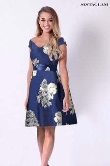 Sistaglam High Low Brocade Dress