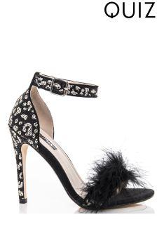 Quiz Feather Detail Heeled Sandals