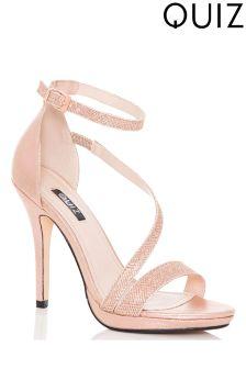 Quiz Shimmer Strap Heeled Sandals