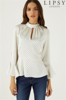 Lipsy Polka Dot Button Sleeves Satin Blouse