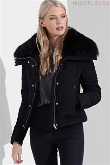 Urban Bliss Short Padded Fur Trim Jacket