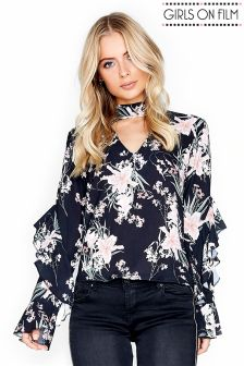 Girls On Film Printed Chocker Frill Sleeve Top