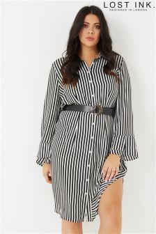 Pasiasta sukienka koszulowa Lost Ink Plus z paskiem