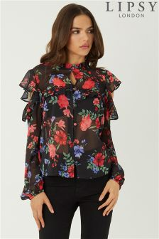 Lipsy Floral Rullo Button Prnted Blouse