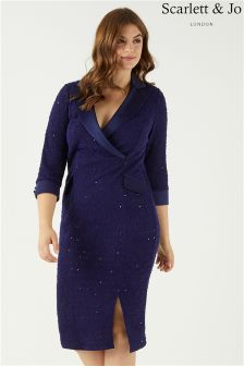 Scarlett & Jo Boucle Tuxedo Midi Dress