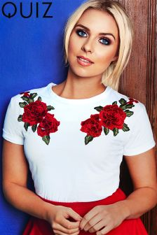 Quiz Gabby's Rose Print Embroidered Top
