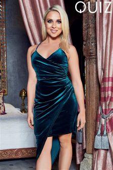 Quiz Velvet Asymmetrical Dress