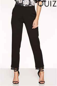 Quiz Lace Trim High Waisted Trousers