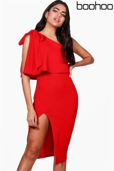 Boohoo Bow Shoulder Ruffle Bodycon Dress