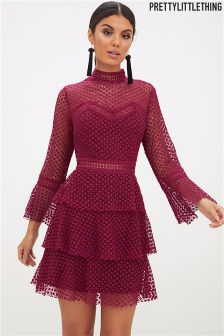 PrettyLittleThing Flared Sleeve Lace Mini Dress