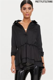 PrettyLittleThing Tiered Silky Shirt