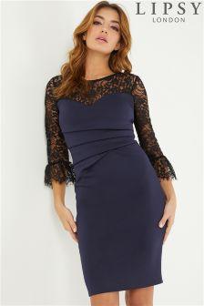 Lipsy Lace Sleeve Pleated Bodycon Dress
