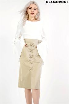 Glamorous Lace Up Pencil Skirt