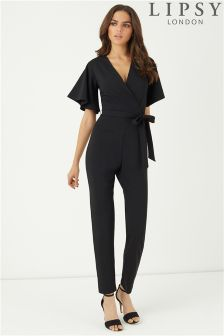 Lipsy Fluted Sleeve Wrap Jumpsuit