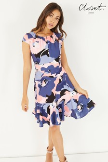 Closet Cap Sleeve Peplem Tie Back Dress