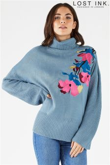 Lost Ink Floral Embroidered Jumper