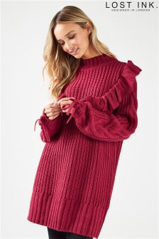 Lost Ink Ruffle Chunky Knit Dress