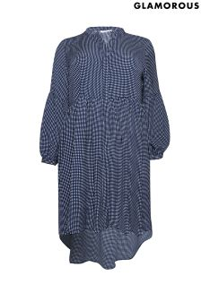 Glamorous Curve Checked Smock Dress
