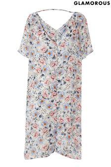 Glamorous Curve Floral Button Front Dress