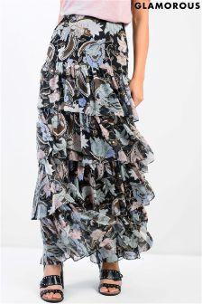 Glamorous Tiered Printed Maxi Skirt