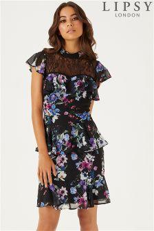 Lipsy Kady Floral Print Tiered Skater Dress