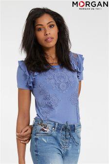 Morgan Lace & Ruffle Detailed Shirt