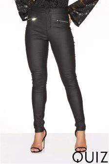 Quiz PU Coated Jeans