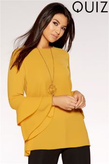 Quiz Crepe Double Frill Sleeve Top