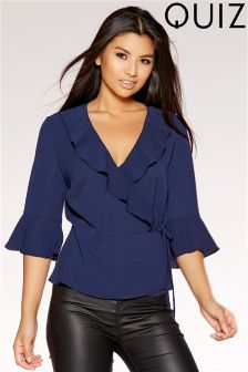 Quiz Wrap Over Frill Top