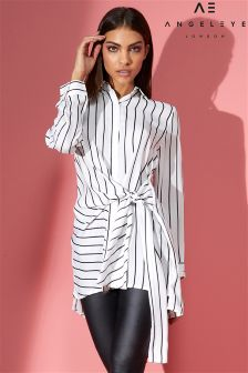 Angeleye Tie Waist Detail Striped Shirt
