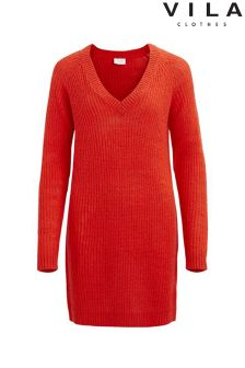 Vila Knitted V neck Dress