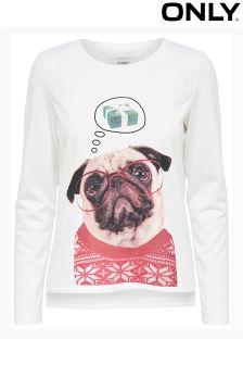 Only Pug Print Christmas Sweatshirt