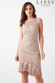 Lipsy Lace Flute Hem Midi Dress