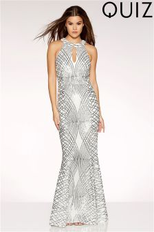 Quiz Sequin And Mesh Fishtail Maxi Dress