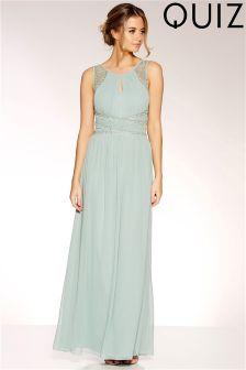 Quiz Chiffon Embellished Keyhole Maxi Dress