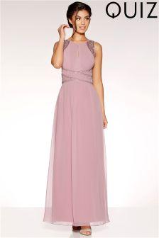 Quiz Embellished Keyhole Maxi Dress